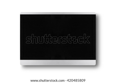 wide screen TV isolated on a wall - stock photo