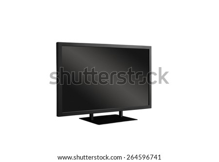 Wide screen TV isolated on white - stock photo