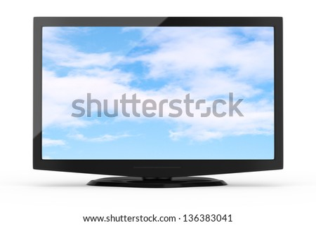 wide screen tv isolated on white. 3d rendered image