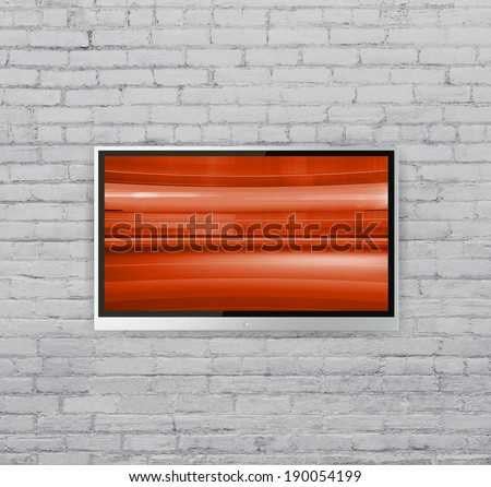wide screen TV on wall  with Abstract red cubes - stock photo