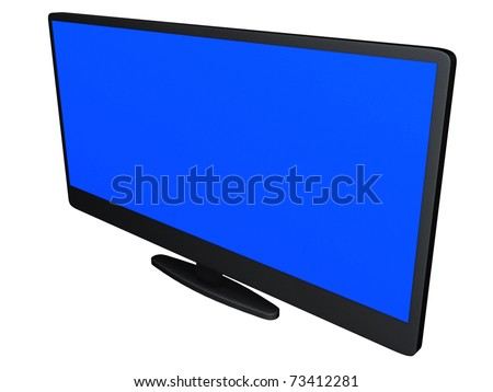 Wide screen TV set on a white background - stock photo