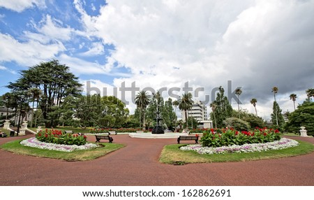 Wide shot of nice park - stock photo