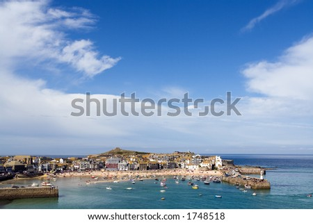 Wide shot of the harbour at St Ives - stock photo