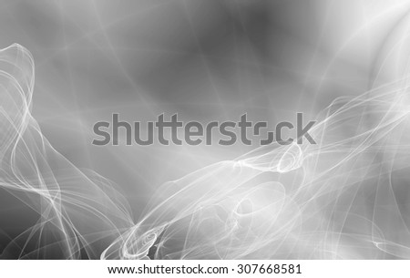 Wide silver smoke abstract wavy gray background - stock photo
