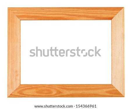 wide simple wooden picture frame isolated on white background - stock photo