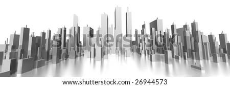 wide skyline 3d - stock photo