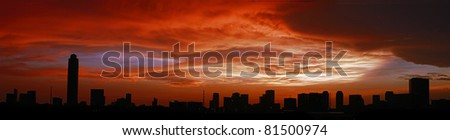 Wide skyline view of midtown at sunset in Houston, Texas