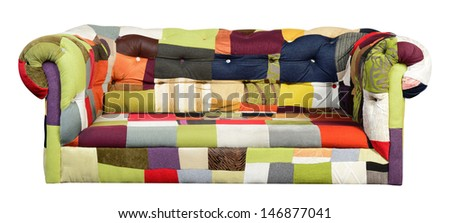 Wide sofa Against white background. - stock photo