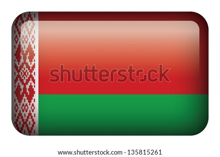 Wide square flag button series - Belarus - stock photo