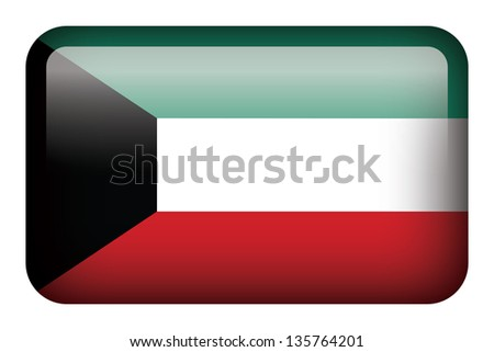Wide square flag button series - Kuwait - stock photo