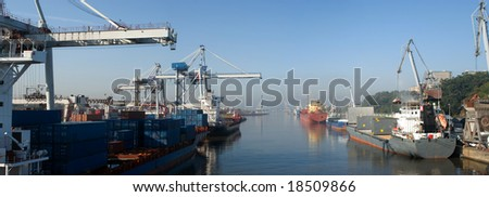 Wide view of a modern harbor.Panoramic picture,not a crop. - stock photo
