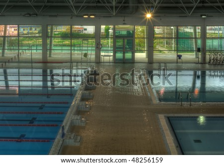 Wide View of a Public Swimming Pool Complex - stock photo