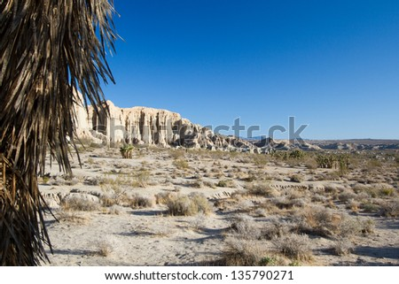 Wide view of California's Mohave Desert at Red Rock Canyon State Park - stock photo