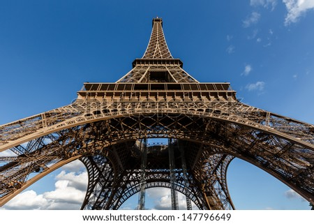 Wide View of Eiffel Tower from the Ground, Paris, France - stock photo