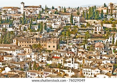 Wide View of Granada, Spain - stock photo