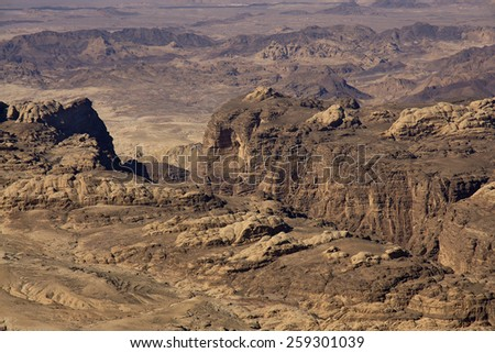 Wide view of mountains and desert in Jordan. - stock photo