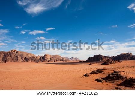 Wide view of mountains and desert in Wadi Rum, Jordan. - stock photo