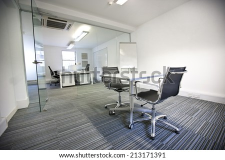 Wide view of office interior - stock photo