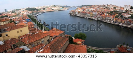 wide view of  oPorto and Gaia cities split by the Douro river on Portugal. - stock photo