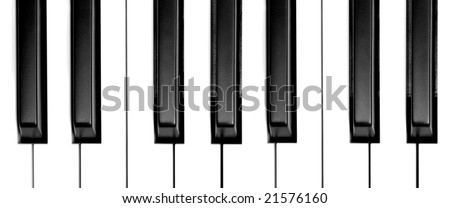 wide view of piano keys from above - stock photo