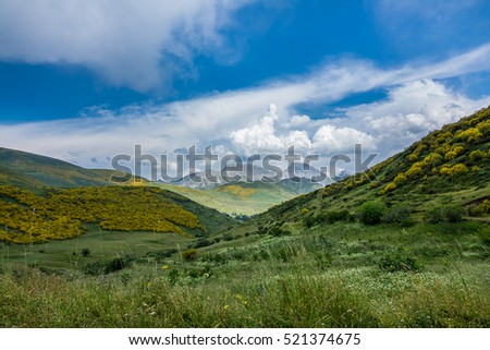 Wide view of Picos de Europa mountains in Asturias, Spain
