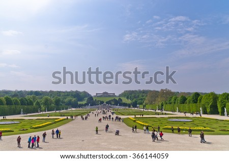 Wide view of Schenbrunn park and palace in Vienna, Austria - stock photo