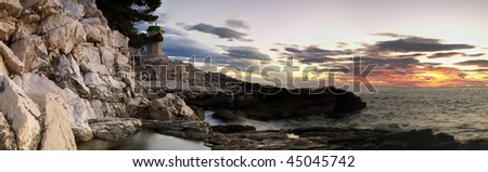 Wide view of the Adriatic sea in the twilight... - stock photo