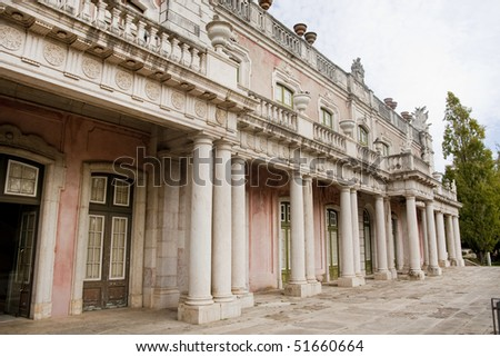 Wide view of the beautiful Queluz Palace. - stock photo