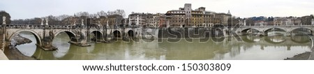 Wide view of the bridges over river Tiber in Rome, Italy.