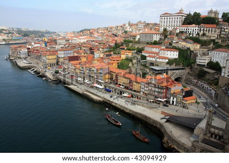 Wide view of the old downtown area of the city of Porto, Portugal. - stock photo