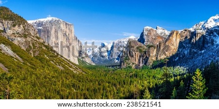 Wide view of Yosemite Valley and Bridalveil Falls in Yosemite National Park, California - stock photo