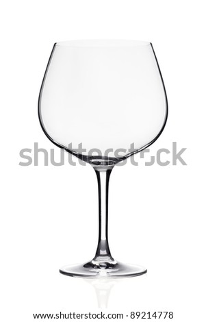 Wide wineglass isolated on white.