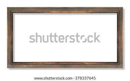 wide wooden frame isolated on white - stock photo
