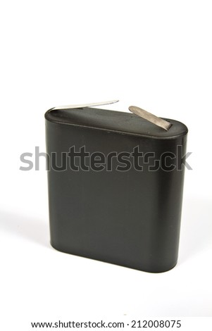 Widely used in the eighties and nineties of the twentieth century flat battery of 4.5 volts - stock photo