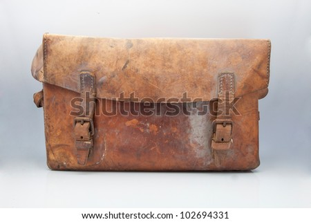 widely used old leather suitcase