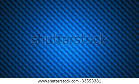 Widescreen blue carbon fiber background illustration. Digital render of fabric in 16x9 aspect ratio.