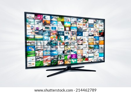 Widescreen high definition TV screen with video gallery. Television and internet concept
