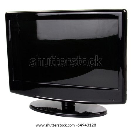 widescreen lcd monitor isolated on white - stock photo