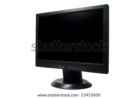 widescreen LCD monitor on white background - stock photo