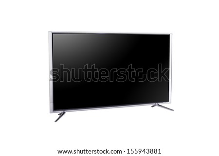 widescreen LED or LCD internet tv monitor isolated on white - stock photo