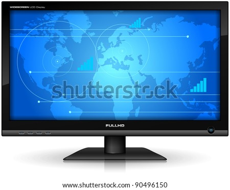 Widescreen TFT display - stock photo