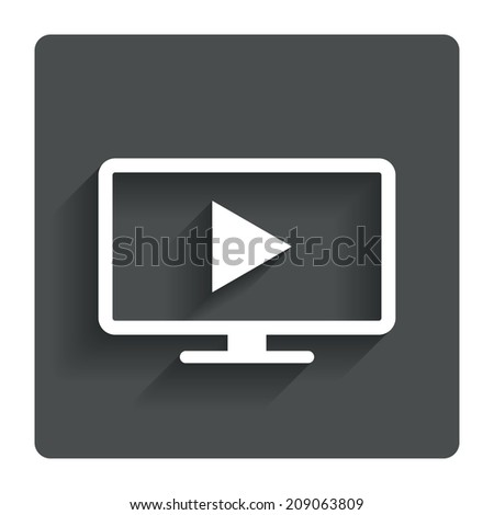 Widescreen TV mode sign icon. Television set symbol. Gray flat button with shadow. Modern UI website navigation.