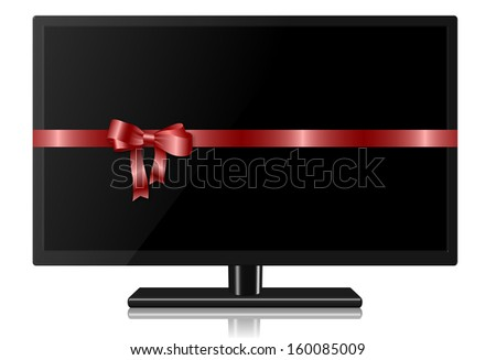 Widescreen TV wrapped with a red silk ribbon / TV for present - stock photo