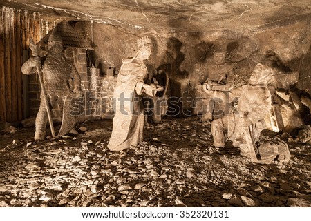Wieliczka - Poland - April 23. Underground sculptures of St. KInga made in stone salt. ALong the touristic route we can admire old sculptures made in salt. Wieliczka - Poland - April 23, 2015 - stock photo