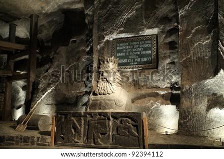 WIELICZKA, POLAND - Casimir III the Great (polish: Kazimierz Wielki) sculpture in Salt Mine Wieliczka - stock photo
