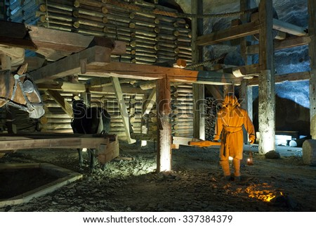 WIELICZKA, POLAND - JANUARY 2, 2015: Wieliczka Salt Mine (13th century) is one of the world's oldest salt mines. Has over 300 corridors and 300 chambers on 9 levels.