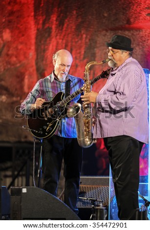 WIELICZKA, POLAND - NOVEMBER 2, 2015: John Scofield and Joe Lovano Quartet playing live music at The Cracow Jazz All Souls Day Festival in The Wieliczka Salt Mine. Poland