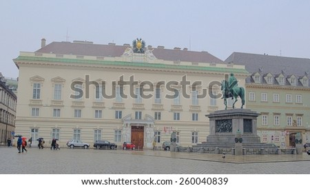 WIEN, AUSTRIA, JANUARY 4, 2015: view of the outer courtyard of hofburg in wien where horseman statue of joseph II is situated. - stock photo