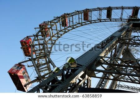 Wiener Riesenrad in Prater - oldest and biggest ferris wheel in Austria. Symbol of Vienna city - stock photo