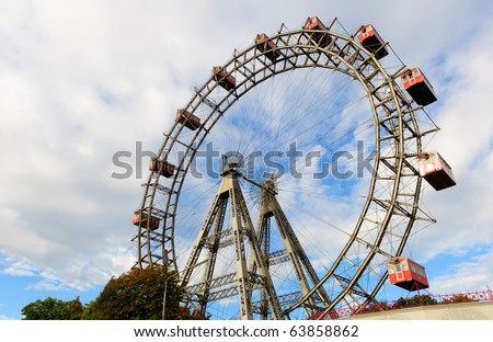 Wiener Riesenrad in Prater - oldest and biggest ferris wheel in Austria. Symbol of Vienna city - stock photo